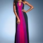 boyuna çizgili üç renkli maksi elbise dizaynı
