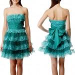 dantelli ve fırfırlı abiye elbise modeli