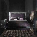 dekoratif siyah gümüş yaldızlı kadife yatak odası modeli