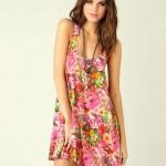 gül desenli mini yazlık elbise