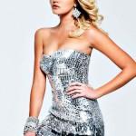 gümüş payetli mini abiye elbise tasarımı