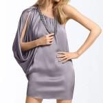 gri saten tek omuzlu mini elbise modeli