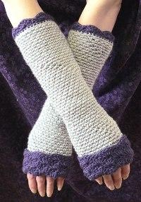gri tonlu uçları örnekli uzun parmaksız eldiven modeli