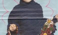 Çiçek Motifli Kız Çocuk Örgü Panço Modeli