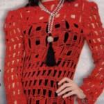 kırmızı fileli düz yaka fileli kazak modelleri