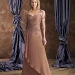 kahverengi altı tül üstü işlemeli elbise modeli örneği