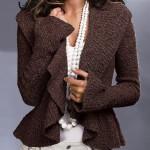 kahverengi kolları bol örgü ceket modeli örneği