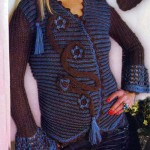 kahverengi mavi işlemeli örgü ceket modeli örneği