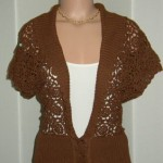 kahverengi motifli örgü ceket modeli örneği