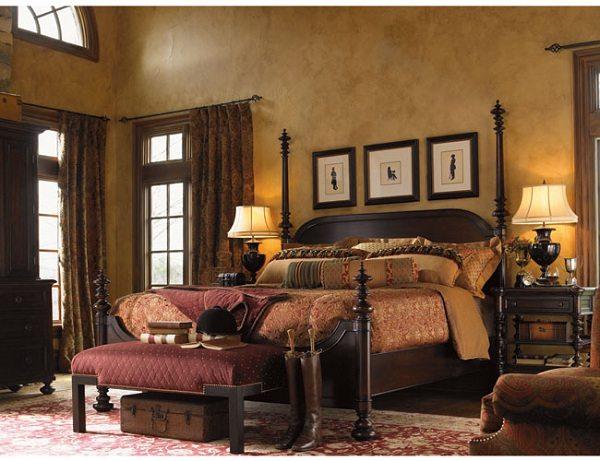 kalasik kahve ahşap yatak odası örneği