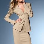 krem V yakalı etek ceket modeli