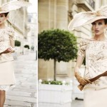 krem rengi mini elbise ve şapka modeli örneği