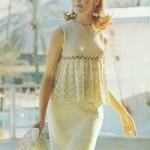 krem rengi mini oturtmalı dantelli elbise modeli örneği
