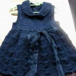 lacivert harika tığ işi kız çocuk elbise modelleri