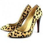 leopar desenli sivri burun topuklu ayakkabı