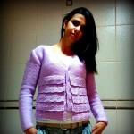 lila örgü ceket modeli örneği