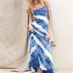 mavi beyaz aslılı straplez elbise tasarımı