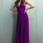 mor askılı maksi elbise modeli