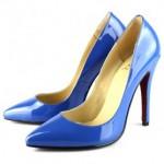 neon mavi rugan sivri burun topuklu ayakkabı