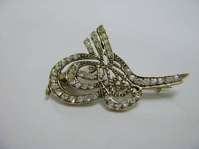 osmanlı tuğrası taşlı altın broş modeli örneği