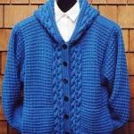 parlament mavisi örgü ceket örneği