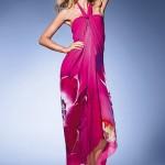 pembe çiçcek baskılı şifon boyundan bağlamalı maksi elbise trendi