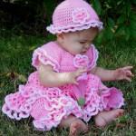 pembe çok tatlı kız bebek elbiseleri