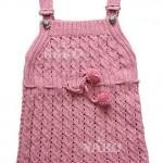 pembe askılı bebek elbisesi