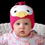 pembe renkli civciv motifli şiş örme bebek beresi