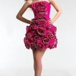 pembe straplez mini abiye elbise modeli