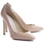 pudra renkli kalsik topuklu ayakkabı