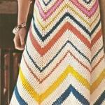 rengarek çizgili  örgü uzun elbise  modeli örneği
