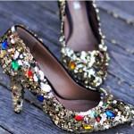 renkli taşlı gelin ayakkabı modelleri