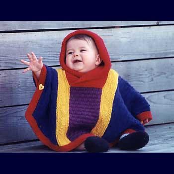 renkli tatlı örgü çocuk panço modelleri
