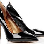rugan siyah sivri burun topuklu ayakkabı tasarımları