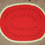 sıkı tığ örme karpuz desenli paspas modeli