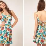 sırtı açık askılı çiçekli elbise modeli