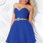 saks mavisi taşlı kemer detaylı straplez abiye elbise