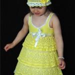 sarı bebek elbise ve şapkasu