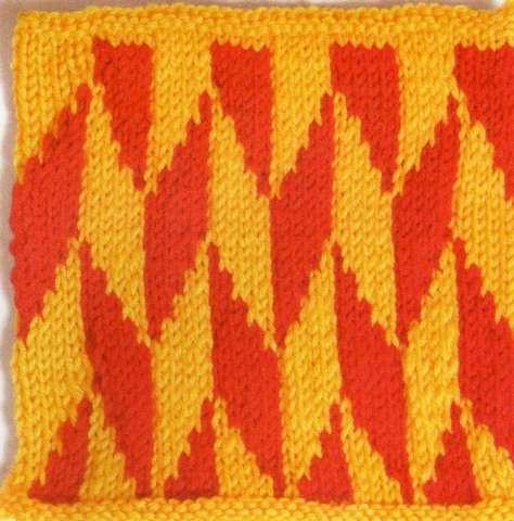 Sarı kırmızı şekilli örgü motifi