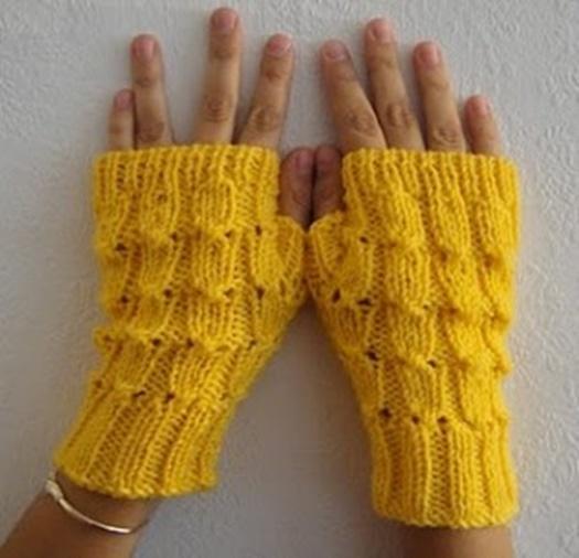 sarı kat örme uzun parmaksız eldiven modeli