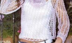 Lila Renkli Yazlık File Modelli bayan Bluz Örneği