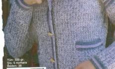 Ebruli İp Ceket Yaka Bayan hırka Modeli