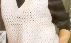 Beyaz Renkli Örgü Bayan Süveter Modeli