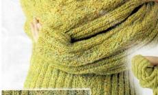 Yeşil Renkli Ebruli İp İle Örülen Bayan Kazak Modeli
