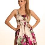 saten çiçek desenli elbise modeli