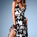 siyah beyaz çiçek baskılı yazlık elbise modeli
