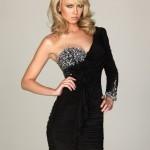 siyah tek omuzlu diğer kolu uzun drapeli mini elbise