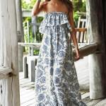 straplez fırfırlı baskılı maksi elbiseler