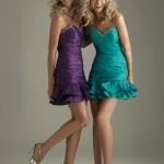 straplez taşlı etek kısmı fırfır detayşı mini elbiseler